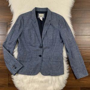 J Crew Chambray Two Button Schoolboy Blazer Jacket